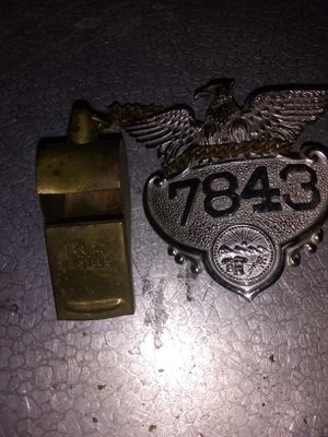 1950s Cleveland crossing guard badge and brass whistle for Sale in Parma, OH