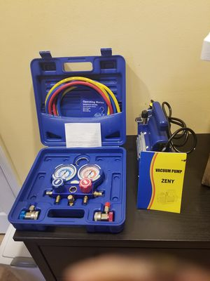 1 stage 1/4 hp vacuum pump and r134a manifold gauge set for Sale, used for sale  Levittown, PA