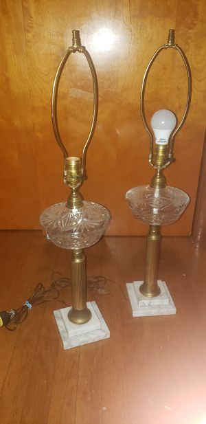 Antique marble stand crystal table lamps for Sale in Alexandria, VA