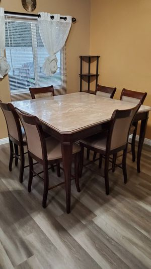 6 chair dining set, marble table for Sale in Hemet, CA