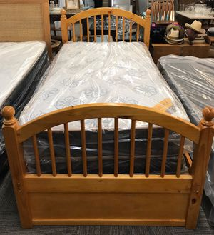 Twin New Mattress and Box Springs with solid Wood Bed Frame -$199.00 for Sale in Omaha, NE