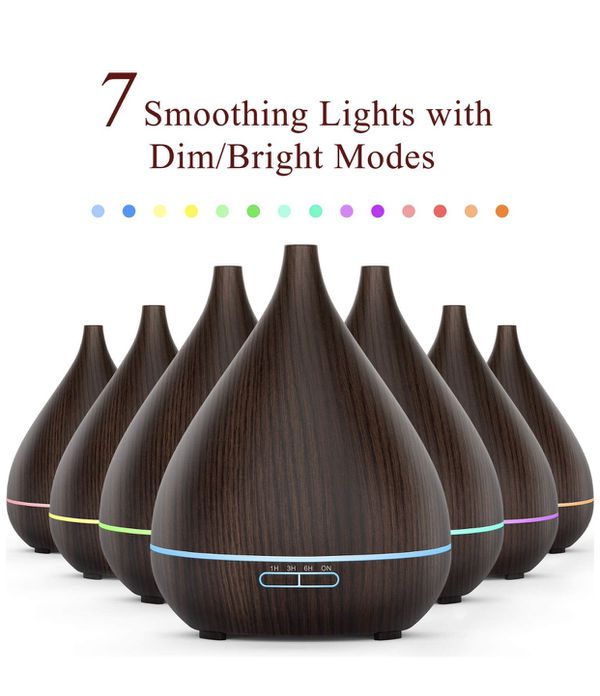 Essential Oil Diffuser, 400ml Oil Diffuser Ultra-Silent Humidifier, Aromatherapy Ultrasonic Diffuser for Home and Office, Elegant Lights and Waterles