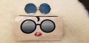 TINTED BLUE ROUND SUNGLASSES W POUCH for Sale in Phoenix, AZ