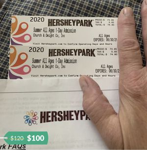 2 Hershey Park tickets for Sale in York, PA