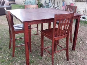 Tall Wood Dining Table Set with 4 Chairs for Sale in San Bernardino, CA