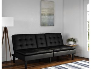 Mainstays Memory Foam Faux Leather PillowTop Futon with Cupholder for Sale in Stockbridge, GA