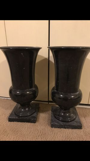 "Set of 2 heavy marble plants pots grayish black color 20"" tall pick up in Gaithersburg Maryland all sales final for Sale in Gaithersburg, MD"