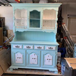 Coastal rustic shabby chic two-piece hutch for Sale in Largo, FL