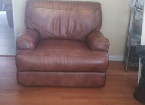 Brown leather power reclining oversized chair and matching couch for Sale in Livonia, MI