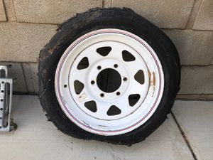 "15"" 6 lug trailer wheel - tire is blown, wheel is perfect for Sale in Palmdale, CA"