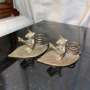 Whimsical Mouse Bronze Candle Holders- for Sale in Littlerock, CA
