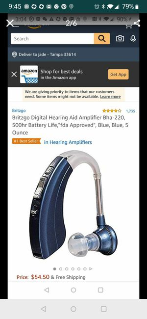 """Britzgo Digital Hearing Aid Amplifier Bha-220, 500hr Battery Life,""""fda Approved"""", Blue, Blue, 5 Ounce for Sale in Tampa, FL"""