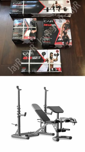 170LB HOME GYM SET: with weight bench, squat rack, preacher curl pad + leg developer, 7Ft Olympic Bar, 100lbs Weight Set & 40lb Adjustable Dumbbell - for Sale in Menifee, CA