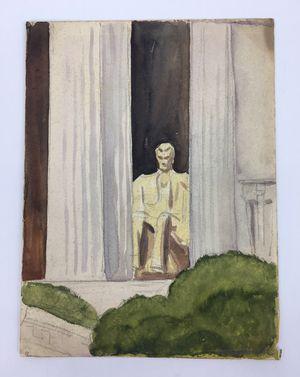 "Original 9"" X 12"" Watercolor of Lincoln Memorial by 1950's Illustrator Rudolph Schwartz for Sale in Hamilton Township, NJ"