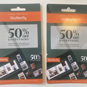 2 Promo Codes For Shutterfly 50% Off! Valid Until 12/31/20 for Sale in Hallandale Beach, FL