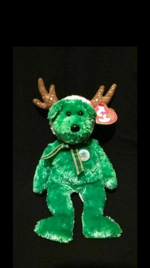 Mint Condition Ty Beanie Babies 2002 Green Holiday Teddy The Christmas Bear With Reindeer Antler Hat for Sale in Portland, OR
