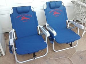 2 tommy bahama Read-Thru Beach lounger lounge chair backpack storage cup holders etc for Sale in Pompano Beach, FL