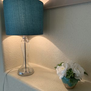 Teal Blue Lamp And Vase With Flower for Sale in Scottsdale, AZ
