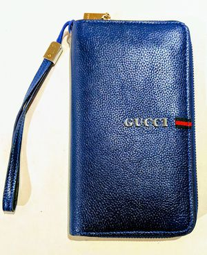 GUCCI blue zip around wallet with wrist strap for Sale in Beaverton, OR