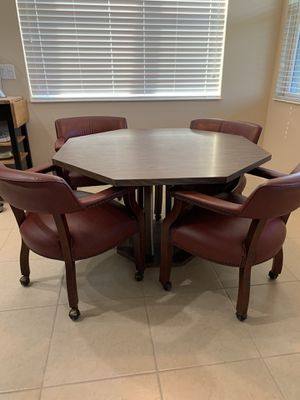 Octagon Table & Leather Club Chairs for Sale in Daytona Beach, FL