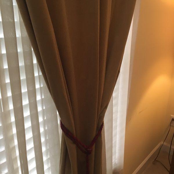 Pottery Barn 10 Ft Velvet Beige Curtains