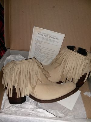 Size 8 1/2 beige fringe booties for Sale in Manassas, VA