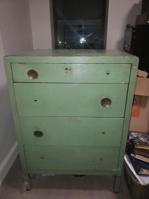 SIMMONS NORMAN BELL VINTAGE ANTIQUE STEELE DRESSER-Best offer for Sale in New York, NY