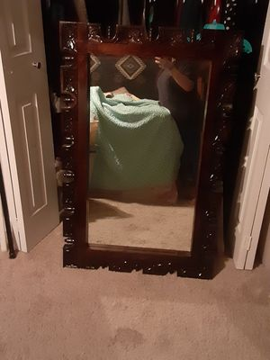 Antique wooden hand carved mirror for Sale in San Antonio, TX