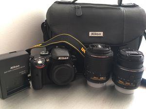 Nikon D3300 DX-format DSLR Kit w/ 18-55mm DX VR II & 55-200mm DX VR II Zoom Lenses and Case (Black) for Sale in Longmeadow, MA
