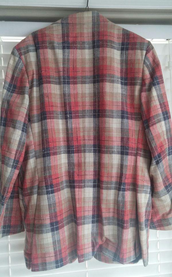 70's Men's Pink/Red/Navy/Tan Plaid Linen Sportscoat/Halloween Costume