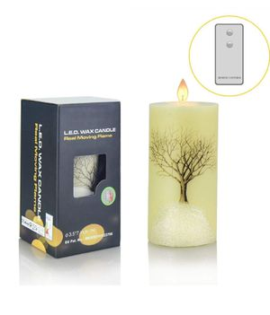Flameless Led Flickering Candles, Y YUEGANG Realistic Snowflake Tree Moving Flame Battery Operated Candle with Timer Remote Gift Set for Sale in Hesperia, CA