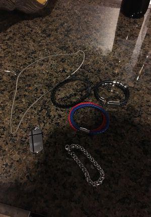 Small medium men's bracelets and a necklace silver tones for Sale in Dallas, TX