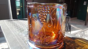 Amber Carnival glass container with lid for Sale in Lakeside, AZ