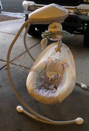 Baby swing with cord, baby toys, baby diapers never opened(newborn up to 10lbs) baby walker for Sale in Las Vegas, NV