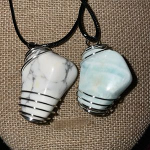 Howlite Or Blue Carribean Calcite Stone Cage Necklace for Sale in Stockton, CA