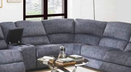 USB DOCKS BOTH ENDS 6-Pc Slate Blue Velvet Power Recliner Sectional Sofa / SILLON RECLINABLE for Sale in Rancho Cucamonga,  CA