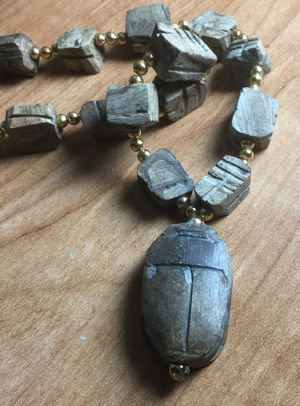 Vintage scarab necklace - necklace is 11 1/2 inches long and larger scarab is 1 1/2 inches for Sale in Bothell, WA
