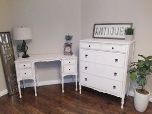 Farmhouse/Rustic Distressed White Dresser and Desk set for Sale in Buckley, WA