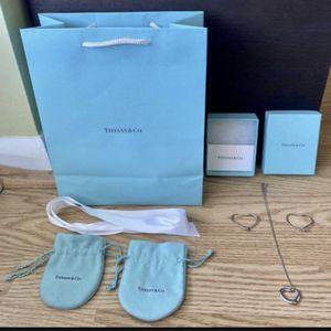Tiffany & Co Elsa Peretti Open Heart Necklace w/ Diamond & Heart Hoop Earrings for Sale in Hollywood, FL