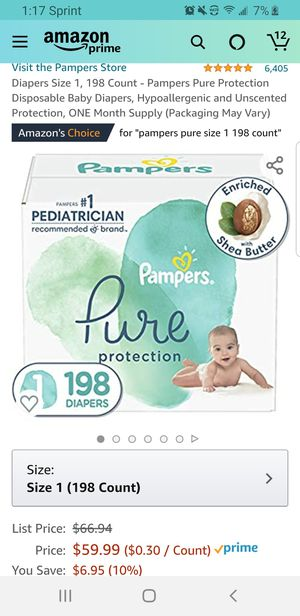 Diapers Size 1, 198 Count - Pampers Pure Protection Disposable Baby Diapers, Hypoallergenic and Unscented Protection for Sale in Clovis, CA