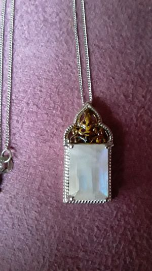 5 Carat Emerald cut Moonstone pendant with silver chain. for Sale in TWN N CNTRY, FL