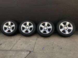 "Set 20"" Chevy Tahoe, Silverado Factory alloy 6x5.5, with Bridgestone tires, good Condition 50% tread, sell all 4 $795.00 for Sale in Pomona, CA"