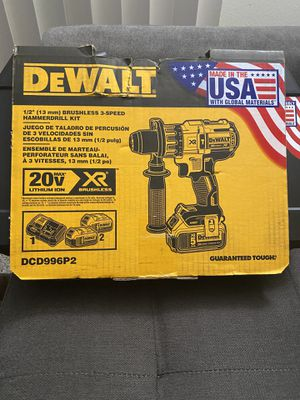DEWALT 20v MAX XR Premium Brushless 3-Speed Hammer Drill with (2) Batteries 5.0Ah, Charger & Hard Case New for Sale in San Diego, CA