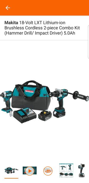 Makita 18-Volt LXT Lithium-ion Brushless Cordless 2-piece Combo Kit (Hammer Drill/ Impact Driver) 5.0Ah for Sale in Sacramento, CA