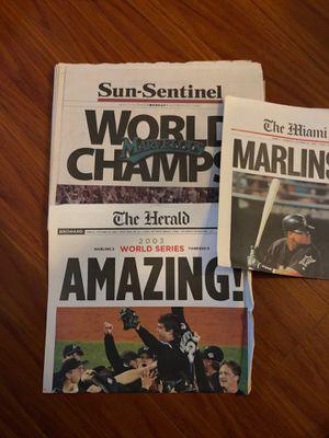 Miami Herald Sun-Sentinel Florida Marlins baseball newspaper world series for Sale in Davie, FL