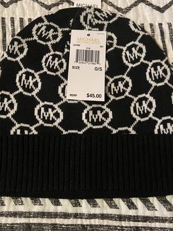 New With Tags Michael Kors Black MK Logo Beanie for Sale in Downey,  CA
