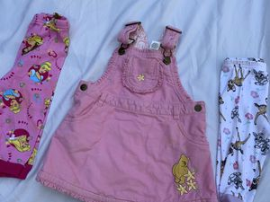 3 piece baby girls fall spring winter Disney Bambi size 12 months 🦌 lot pajamas bottoms overalls 👸 Winnie the Pooh 🐻 for Sale in Painesville, OH