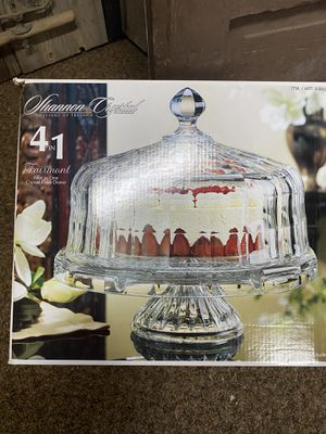 Crystal Cake plate stand with lid for Sale in Wenatchee, WA
