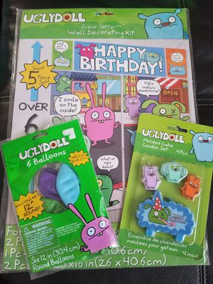 ugly doll decorations....balloons candles. wall decorating kit for Sale in West Bloomfield Township, MI