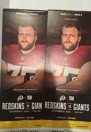 Redskins Vs. Giants Tickets @ 1 PM, December 9th. 90 for both for Sale in Vienna, VA